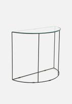 Sixth Floor - Glass half moon console table - black