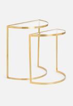 Sixth Floor - Cecilia nested half moon tables - gold