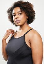 Jacqueline - Highneck slash one piece - black