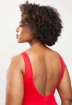 Jacqueline - Slash mesh one piece - red