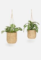 H&S - Seagrass hanging planter set of 2 - natural