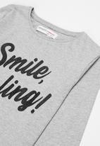 MINOTI - Tween girls basic smile darling top - grey