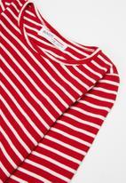 MINOTI - Girls basic stripe ribbed top - red