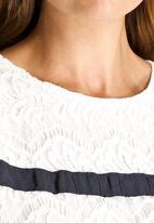 Dahlia - Lace Dress with Ribbon Stripe Detail