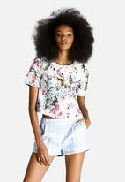 Dahlia - Spot and Flower Boxy Top