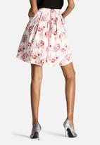 Dahlia - Floral Skirt with Zip Back Detail