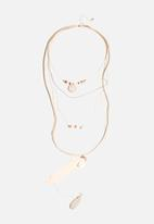 New Look - Cowry & Feather Layered Long Necklace