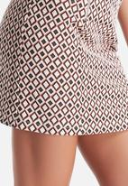 New Look - 70's Jersey Geo Jaquard Zip  A-Line Skirt