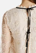 Dahlia - Lace Smock Dress with Black Ties
