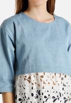 Dahlia - Oversized Denim Top with Lace Hem