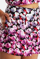 Neon Rose - Dipped Floral Flippy Shorts