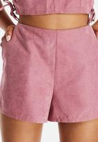 Neon Rose - Pink Suede Shorts