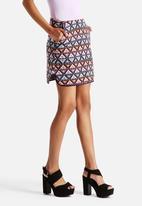 Neon Rose - Solange Jaquard Curved Hem Mini