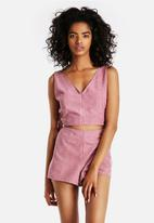 Neon Rose -  Pink Suede Lace Up Crop