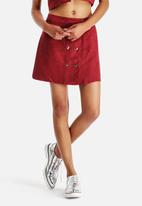 Neon Rose - Sangria Suede 70'S Button Front Skirt