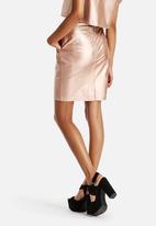Neon Rose - Metallic PU Skirt