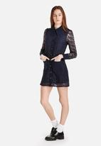Dahlia - Allover Lace Shirtdress with Oversized Collar