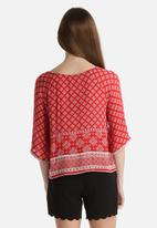 New Look - Amaris Tile Embroidered Border Shell Top