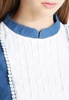 Dahlia - Denim Smock Dress with Pin Tuck Bib Detail