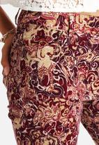 Glamorous - Burg Floral Corduroy Pants