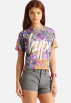 Hype - Violet Fade Floral Crop T-Shirt