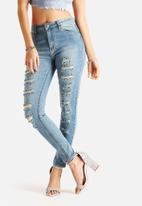 Glamorous - Slashed Denim Skinny Jeans