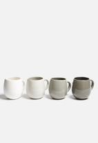 Urchin Art - Set of 4 Grayscale Mugs