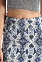 Lola May - Woven Aztec Curved Hem Skirt