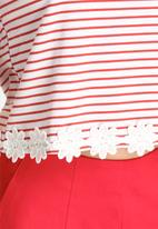 Lola May - Thick Jersey Cropped Top with Lace
