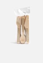 In Good Company - Gold Wooden Chevron Cutlery