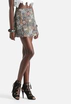 Motel - Annie Twill Stretch Windows Skater Skirt