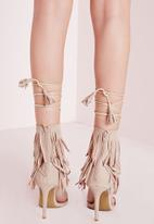 Missguided - Fringe Strap Barely There Heeled Sandals