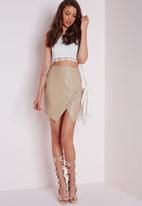 Missguided - Lace Up Faux Leather Mini Skirt