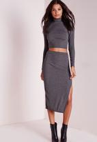 Missguided - Longline Ribbed Split Side Midi Skirt
