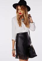 Missguided - Fringing Detail Faux Leather Mini Skirt
