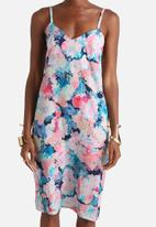 Neon Rose - Acid Floral Midi Slip Dress