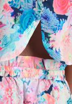 Neon Rose - Acid Floral Crop Top