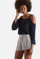 Influence. - Cheesecloth Cold Shoulder Lace Insert Top