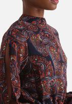Influence. - Paisley High Neck Split Sleeves Dress