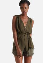 Influence. - Wrap Over Blouse With Buckle Belt