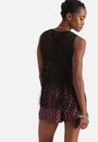 Influence. - Crochet Lace Cropped Vest With Fringe