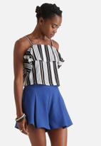 Influence. - Black & Peach Stripe Crop Cami