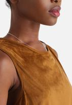 Influence. - Faux Suede Vest With Eyelet Lace Up Detail