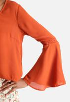 Influence. - Flared Sleeve Tie Front Top