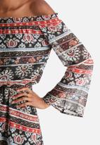 Influence. - Shirred Off Shoulder Bardot Dress