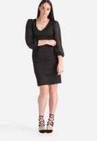 Lili London - Plus Size Lace Shoulder & Cuff Detail Dress