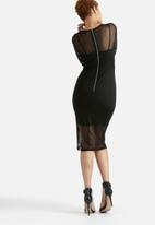 Lavish Alice - Mesh Overlay Eyelet Midi Dress