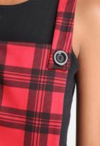 Influence. - Check Pinafore Skater Dress