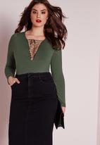 Missguided - Plus size lace-up bodysuit