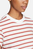 ONLY - Bone High Neck Striped Tee